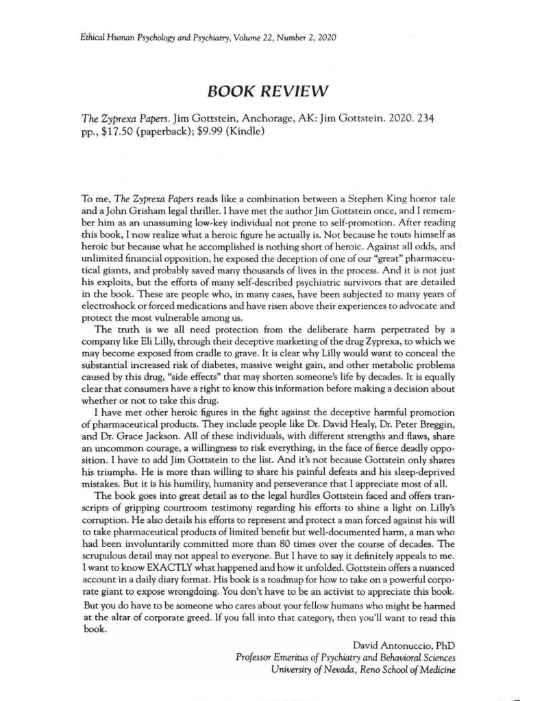 EHPP Review of The Zyprexa Papers